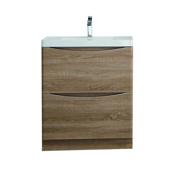 "Eviva Smile? 30"" White Oak Modern Bathroom Vanity Set with Integrated White Acrylic Sink Free Standing"