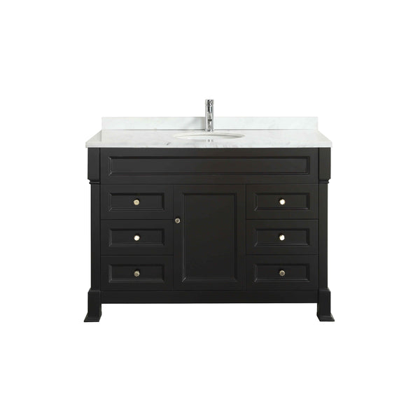 "Eviva Tim 48"" Espresso Bathroom Vanity with White Carrera Counter-top & Porcelain Sink"