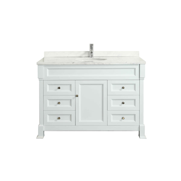 "Eviva Tim 48"" White Bathroom Vanity with White Carrera Counter-top & Porcelain Sink"