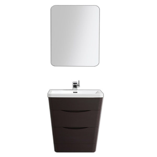 "Eviva Victoria 32"" Chest Nut Modern Bathroom Vanity with White Integrated Acrylic Sink"
