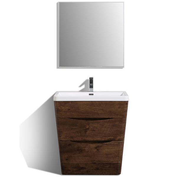 "Eviva Victoria 32"" Rosewood Modern Bathroom Vanity with White Integrated Acrylic Sink"
