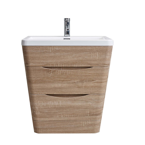 "Eviva Victoria 32"" White Oak Modern Bathroom Vanity with White Integrated Acrylic Sink"