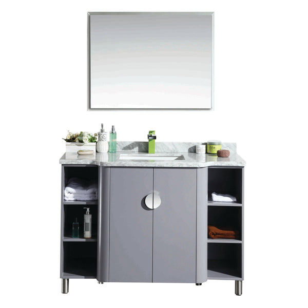 "Eviva Plus Vienna 48"" Satin Luxuries Grey Modern Bathroom Vanity With White Carrera Marble Top & Porcelain Sink"
