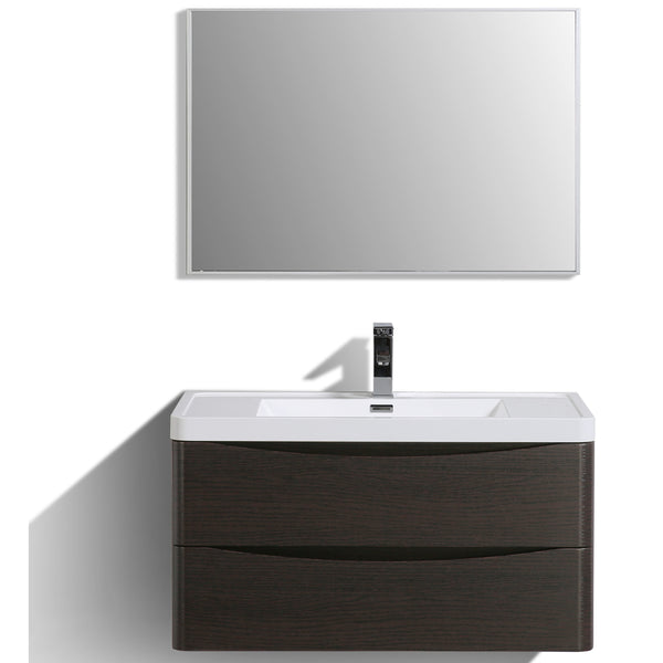 "Eviva Smile? 36"" Chest-nut Modern Bathroom Vanity Set with Integrated White Acrylic Sink"