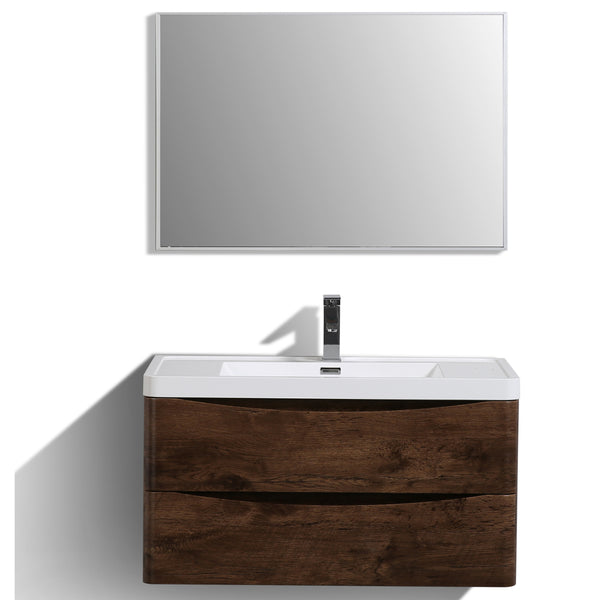 "Eviva Smile? 36"" Rosewood Modern Bathroom Vanity Set with Integrated White Acrylic Sink"