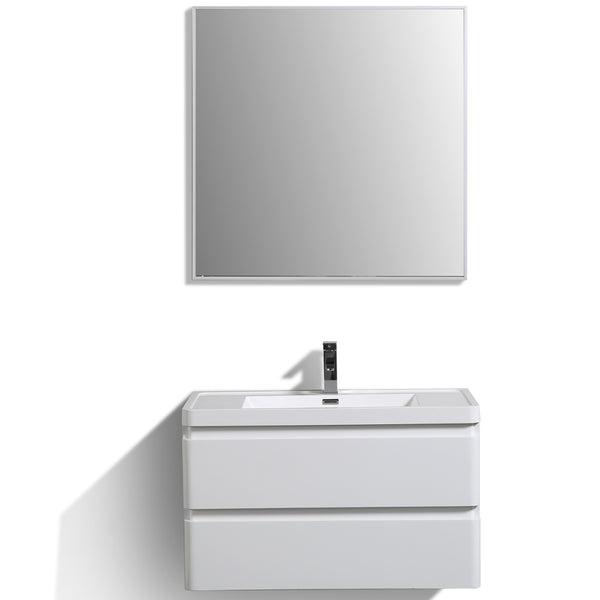 "Eviva Glazzy? 36"" Wall Mount Modern Bathroom Vanity (High Glossy White)"