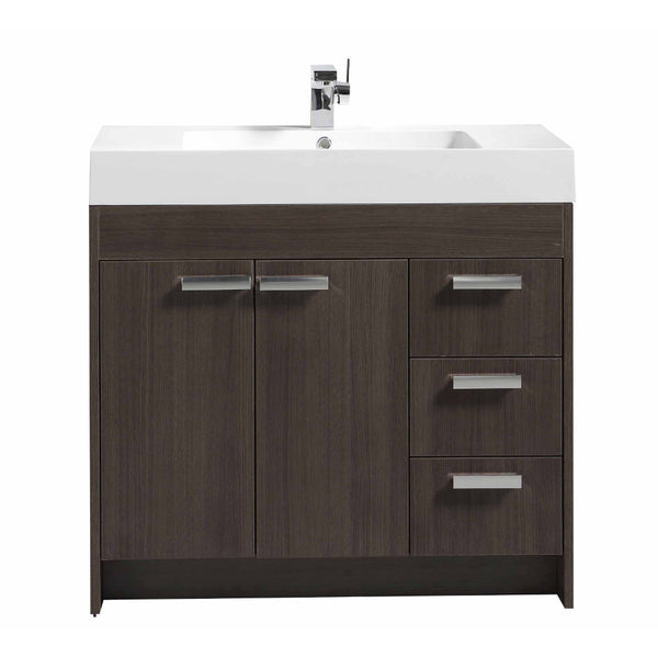 "Eviva Lugano 36"" Grey Oak Modern Bathroom Vanity with White Integrated Acrylic Sink"
