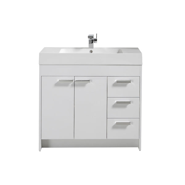 "Eviva Lugano 36"" White Modern Bathroom Vanity with White Integrated Acrylic Sink"