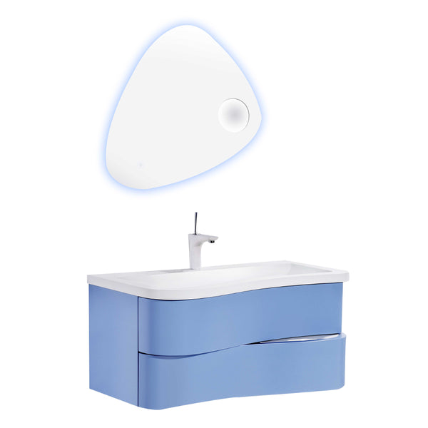 "Eviva Touch 36"" Blue Wall Mount Modern Bathroom Vanity with White Integrated Acrylic Sink"