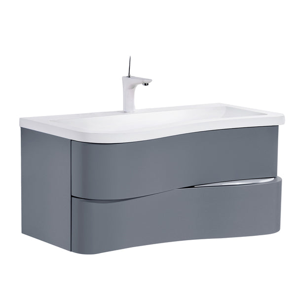 "Eviva Touch 36"" Iron Grey Wall Mount Modern Bathroom Vanity with White Integrated Acrylic Sink"