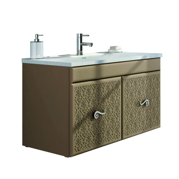 "Eviva Venice 32"" Brown Modern Luxury Bathroom Vanity with white accrylic integrated sink."