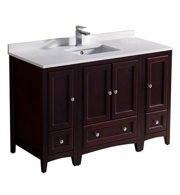 "Fresca Oxford 48"" Mahogany Traditional Bathroom Cabinets w/ Top & Sink"