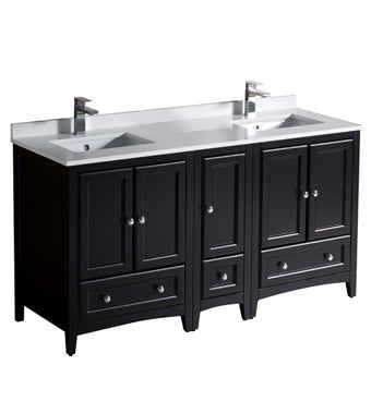 "Fresca Oxford 60"" Espresso Traditional Double Sink Bathroom Cabinets w/ Top & Sinks"