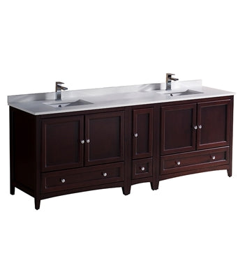 "Fresca Oxford 84"" Mahogany Traditional Double Sink Bathroom Cabinets w/ Top & Sinks"