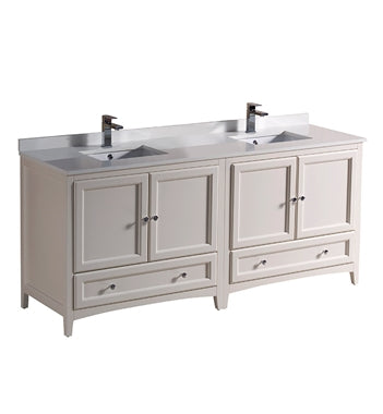 "Fresca Oxford 72"" Antique White Traditional Double Sink Bathroom Cabinets w/ Top & Sinks"