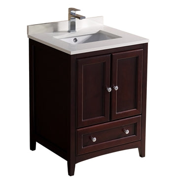"Fresca Oxford 24"" Mahogany Traditional Bathroom Cabinet w/ Top & Sink"