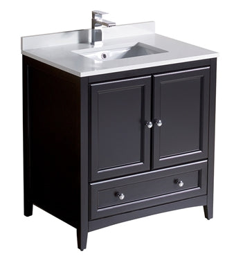 "Fresca Oxford 30"" Espresso Traditional Bathroom Cabinet w/ Top & Sink"
