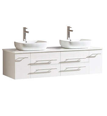 "Fresca Bellezza 59"" White Modern Double Vessel Sink Cabinet w/ Top & Vessel Sinks"