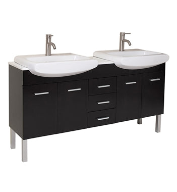 "Fresca Vetta 60"" Espresso Modern Double Sink Bathroom Vanity w/ Sinks"