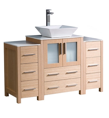"Fresca Torino 48"" Light Oak Modern Bathroom Cabinets w/ Top & Vessel Sink"
