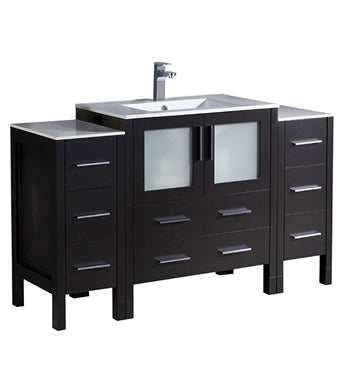 "Fresca Torino 54"" Espresso Modern Bathroom Cabinets w/ Integrated Sink"