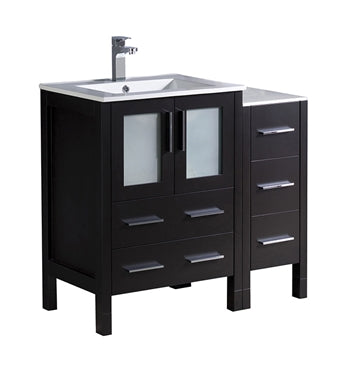 "Fresca Torino 36"" Espresso Modern Bathroom Cabinets w/ Integrated Sink"