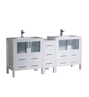 "Fresca Torino 72"" White Modern Double Sink Bathroom Cabinets w/ Integrated Sinks"