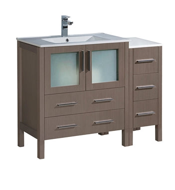 "Fresca Torino 42"" Gray Oak Modern Bathroom Cabinets w/ Integrated Sink"