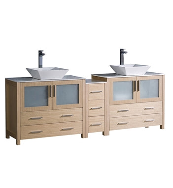 "Fresca Torino 84"" Light Oak Modern Double Sink Bathroom Cabinets w/ Tops & Vessel Sinks"
