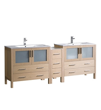"Fresca Torino 84"" Light Oak Modern Double Sink Bathroom Cabinets w/ Tops & Integrated Sinks"