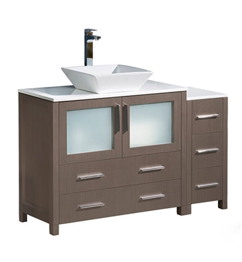 "Fresca Torino 48"" Gray Oak Modern Bathroom Cabinets w/ Top & Vessel Sink"