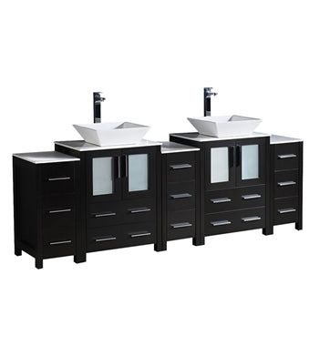 "Fresca Torino 84"" Espresso Modern Double Sink Bathroom Cabinets w/ Tops & Vessel Sinks"