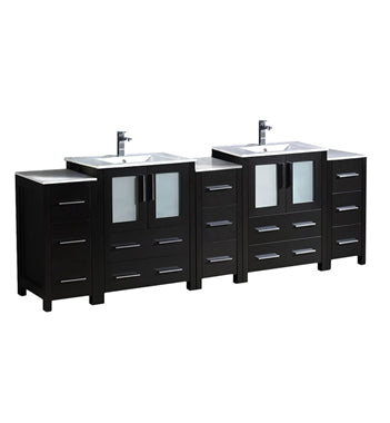 "Fresca Torino 84"" Espresso Modern Double Sink Bathroom Cabinets w/ Integrated Sinks"