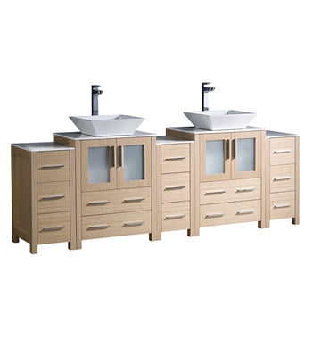 "Fresca Torino 84"" Light Oak Modern Double Sink Bathroom Cabinet w/ Tops & Vessel Sinks"