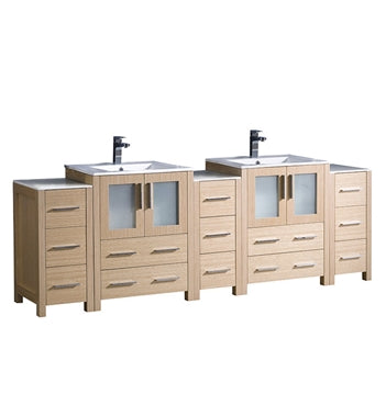 "Fresca Torino 84"" Light Oak Modern Double Sink Bathroom Cabinets w/ Integrated Sinks"