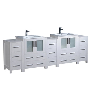 "Fresca Torino 84"" White Modern Double Sink Bathroom Cabinets w/ Integrated Sinks"