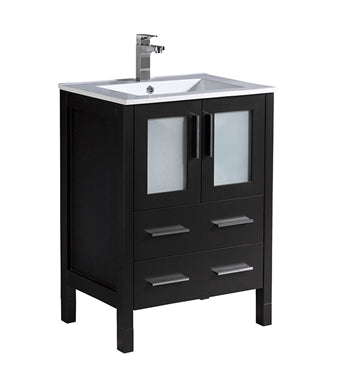 "Fresca Torino 24"" Espresso Modern Bathroom Cabinet w/ Integrated Sink"