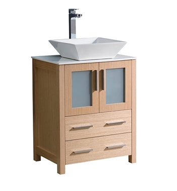 "Fresca Torino 24"" Light Oak Modern Bathroom Cabinet w/ Top & Vessel Sink"