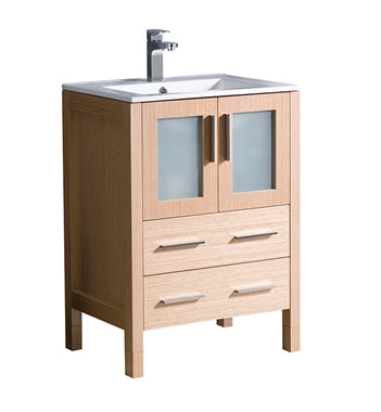 "Fresca Torino 24"" Light Oak Modern Bathroom Cabinet w/ Integrated Sink"