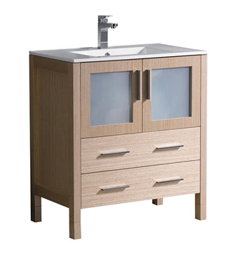 "Fresca Torino 30"" Light Oak Modern Bathroom Cabinet w/ Integrated Sink"