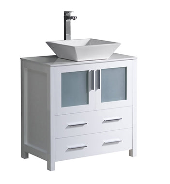 "Fresca Torino 30"" White Modern Bathroom Cabinet w/ Top & Vessel Sink"