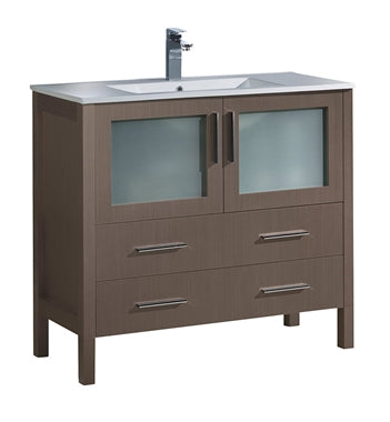 "Fresca Torino 36"" Gray Oak Modern Bathroom Cabinet w/ Integrated Sink"
