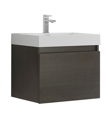 "Fresca Nano 24"" Gray Oak Modern Bathroom Cabinet w/ Integrated Sink"