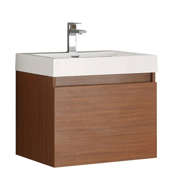 "Fresca Nano 24"" Teak Modern Bathroom Cabinet w/ Integrated Sink"