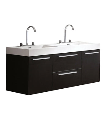"Fresca Opulento 54"" Black Modern Double Sink Bathroom Cabinet w/ Integrated Sinks"