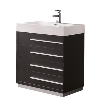 "Fresca Livello 30"" Black Modern Bathroom Cabinet w/ Integrated Sink"