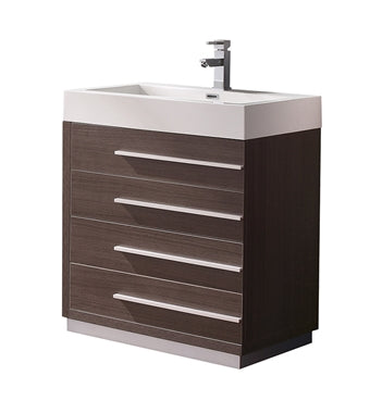 "Fresca Livello 30"" Gray Oak Modern Bathroom Cabinet w/ Integrated Sink"