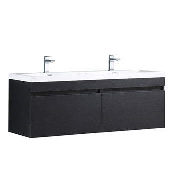 "Fresca Largo 57"" Black Modern Bathroom Cabinet w/ Integrated Sinks"