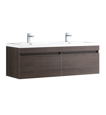 "Fresca Largo 57"" Gray Oak Modern Double Sink Bathroom Cabinet w/ Integrated Sinks"