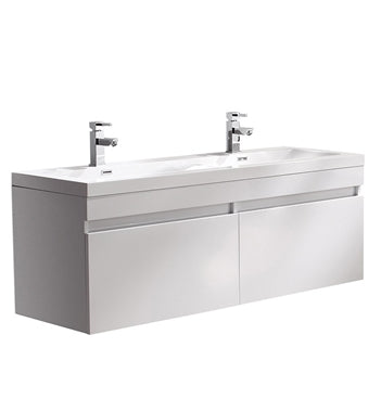 "Fresca Largo 57""White Modern Double Sink Bathroom Cabinet w/ Integrated Sinks"